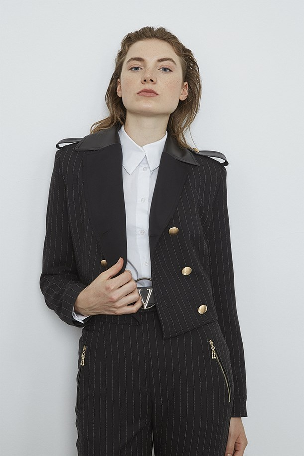 Epaulette Detailed Striped Jacket