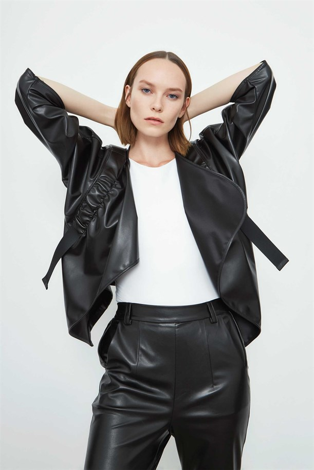 Shirred Leather Jacket