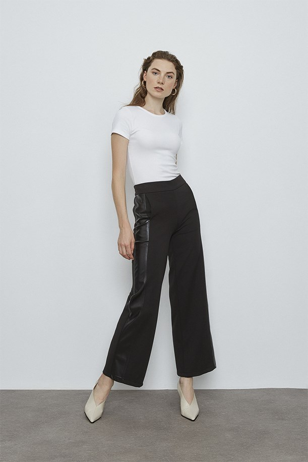 Leather Stripe Detailed Trousers