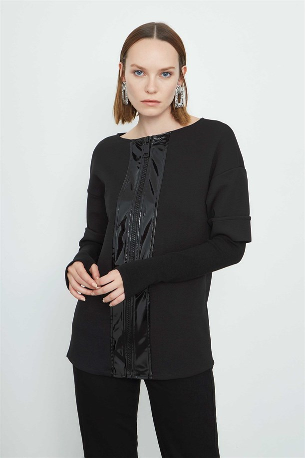 Leather Detailed Knitwear Blouse
