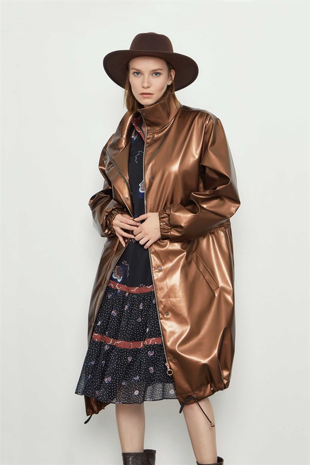 Leather Long Trench Coat