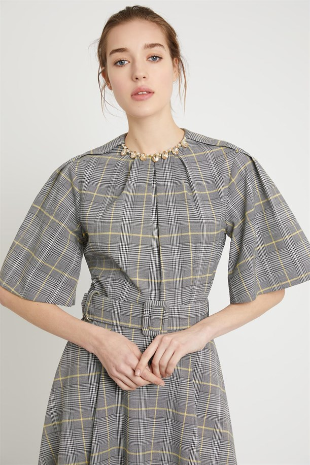 Plaid Patterned Belt Dress