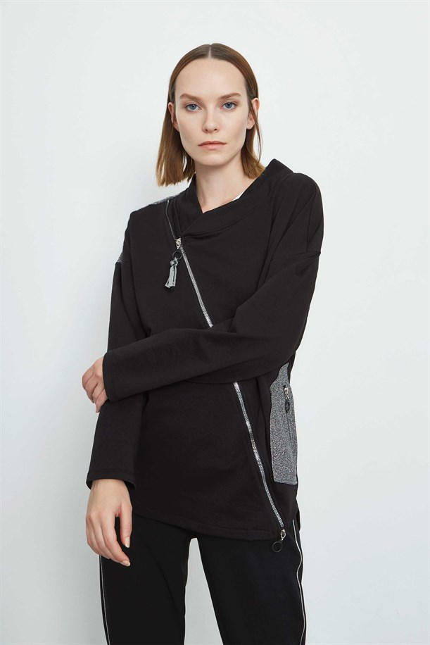 Zipper Detailed Pocket Blouse