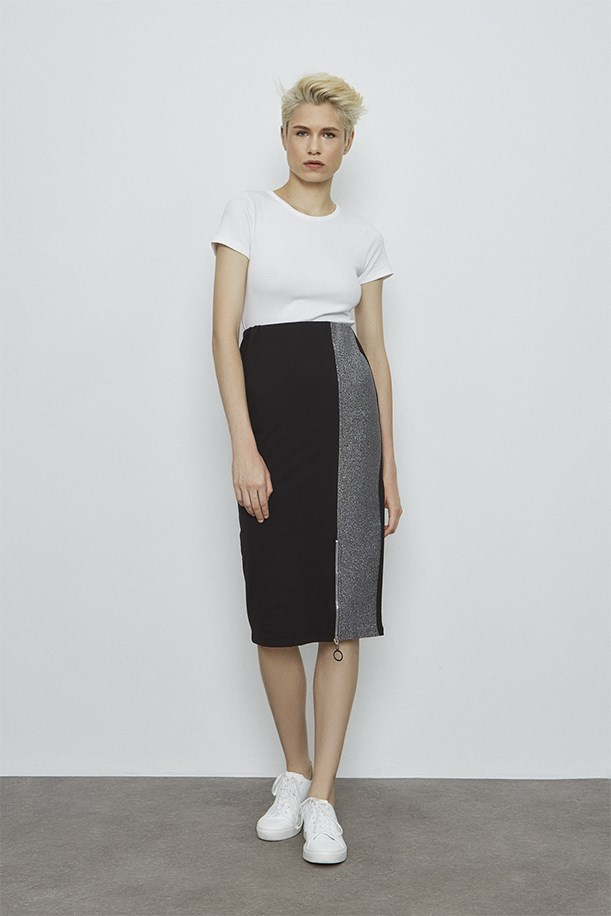 Zip Detailed Silver Black Skirt