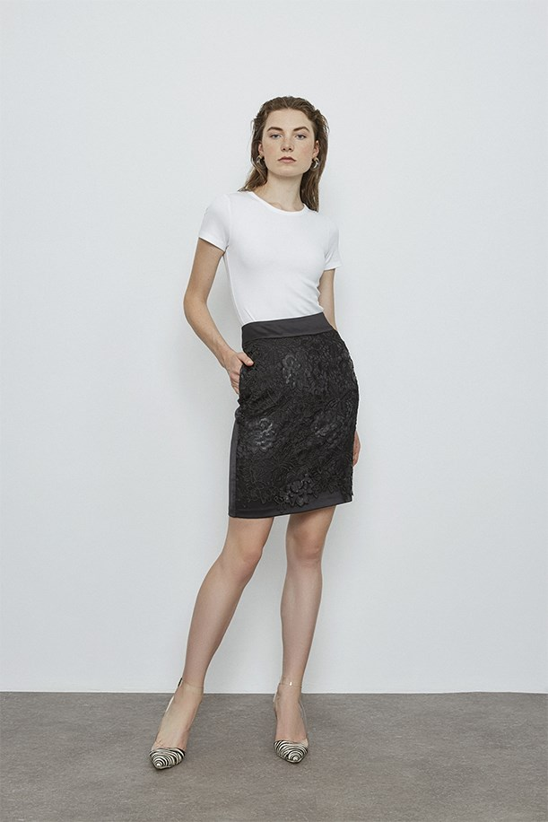 Satin Skirt With Guipure Applique