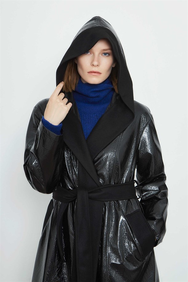 Hooded Patent Leather Trench Coat