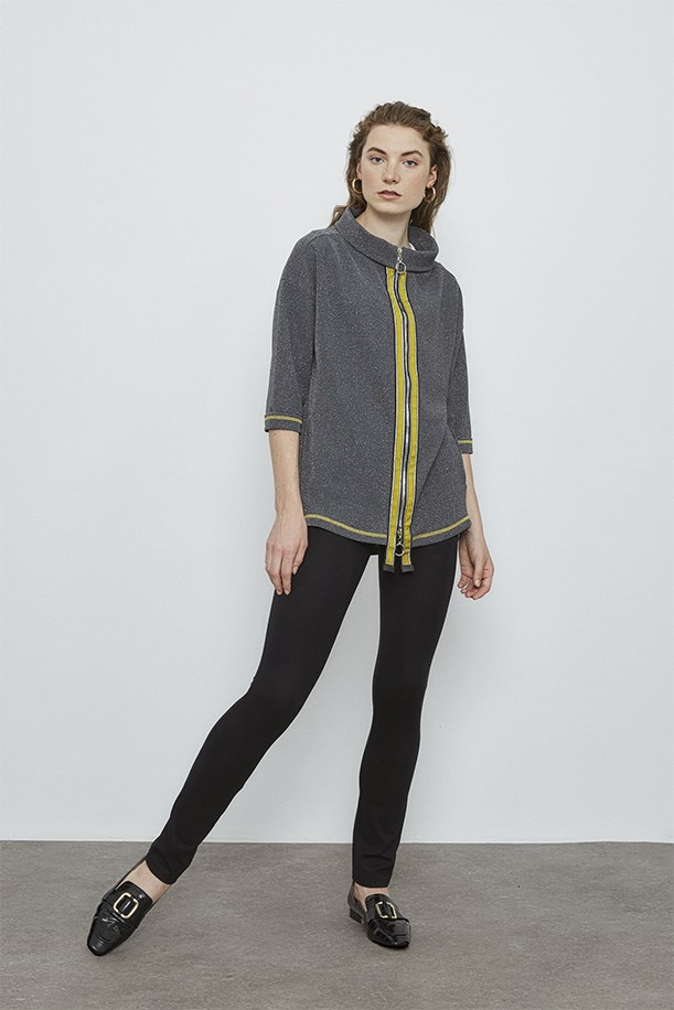 Blouse with Yellow Stripe Detail