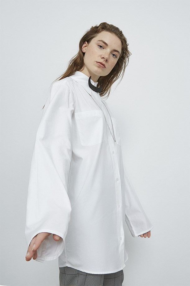 Cotton Shirt With Neckline Accessory