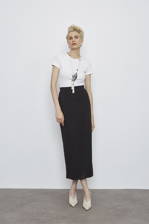Slit Detailed Midi Length Skirt